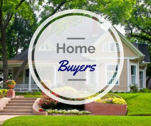Beautiful white colonial house with USA Flags and decorations a text that says Home Buyers
